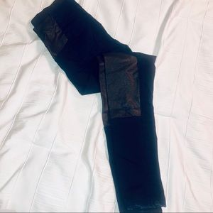 Denim and Faux Leather Jeggings By Kiind Of